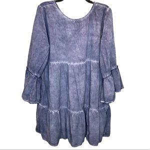 Umgee Boho Bell Sleeve Ruffled Tiered Tunic Dress